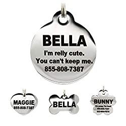 Stainless Steel Pet ID Tags - Laser Engraved Personalized