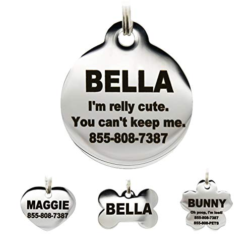 Stainless Steel Pet ID Tags - Engraved Personalized Dog Tags , Cat Tags Front & Back up to 8 Lines of Text – Bone, Round, Heart, Flower, Badge, House, Star, Rectangle, Bow Tie
