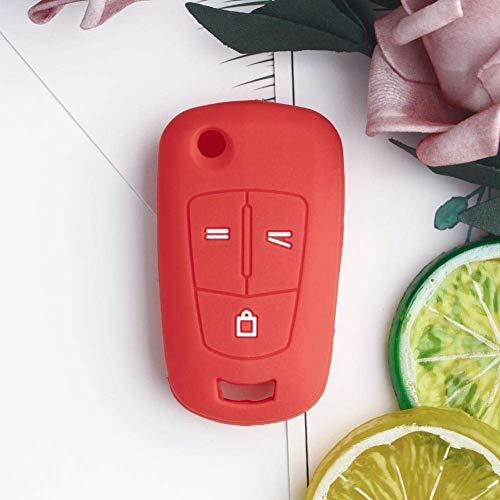 RFGOO 3 Botones Tapa Plegable para Llave de Coche, Funda de Llave de Coche con Control Remoto Inteligente, para Vauxhall Opel Corsa Astra Vectra Signum Rojo