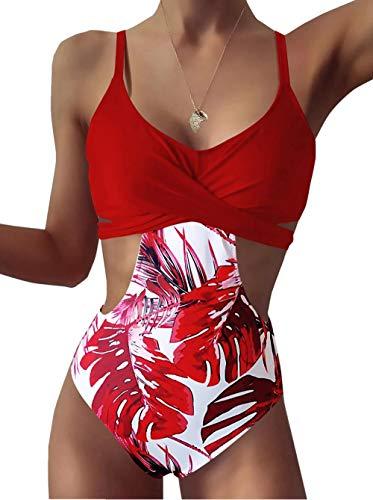 ZIYYOOHY Damen Einteiliger Badeanzug Monokinis V-Ausschnitt Kreuz Raffung Bauchweg Einteilige Bademode Swimsuit (4804 Rot, M)