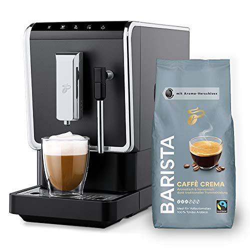 Tchibo Kaffee Vollautomat Esperto Latte (19 bar, 1470 Watt), Anthrazit (inkl. 1Kg Barista Caffè Crema)