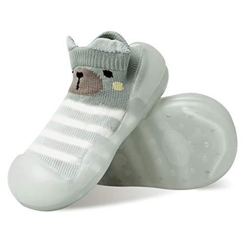 Baby Toddler Sock Shoes Non-Skid Indoor Kids Floor Slipper Children Animals Cotton Mesh Breathable Lightweight TPE Material Shoes Socks-Grey