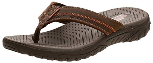 Skechers mens Relaxed Fit¿: Reggae - Cobano Flip Flop, Brown, 10 US
