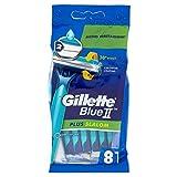 Gillette Blue II Plus Slalom Rasoi da Uomo Usa e Getta, Confezione da 8 Pezzi