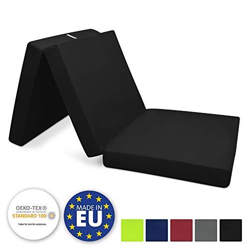 Beautissu Matelas Pliant d'appoint Campix - Pouf Pliable - 60 x 190 cm - Confortable lit d'invité - Futon - Noir