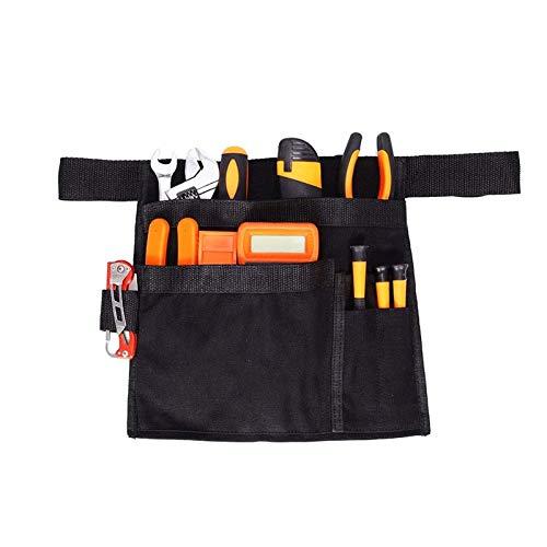 QEES - Cintura per attrezzi da uomo, con lato singolo, cintura da lavoro, cintura da cintura, porta martello per cacciavite, grembiule, utensili da lavoro e accessori (nero)
