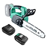 KIMO Corldless Chainsaw-Electric Chinsaw 20V, Battery Chain Saw 9-in w/ 4.0Ah Li-ion Battery&Charger, Auto-Tension, Auto-Lubrication, Chain Brake, for Wood Cutting/Pruning/Trimming/Gardening