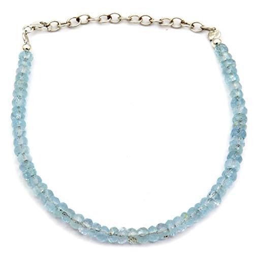 Pulsera de topacio azul, piedra de nacimiento de diciembre, topacio azul con cuentas de piedras preciosas pulsera, regalo del día de la madre para ella pulsera de plata de ley