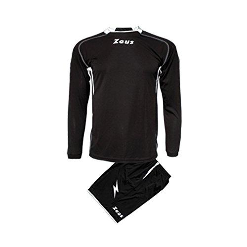 Zeus Heren Kinderset Tricot Shirt Broeken Klein Armel Kit Voetbal Kit Sparta ZWART Wit