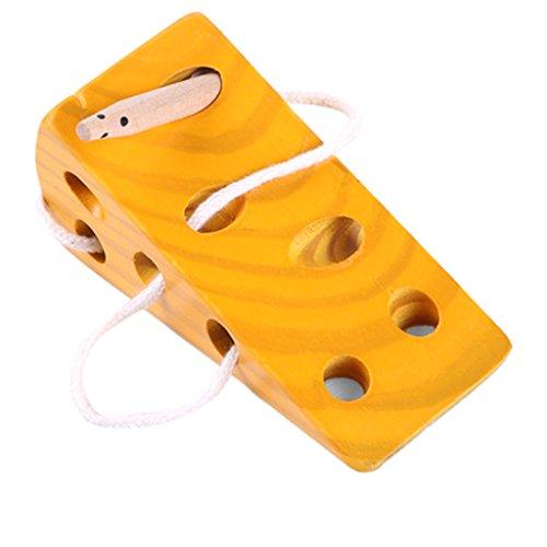 Giocattoli di legno variopinti di Montessori - giocattoli del formaggio gioco di puzzle del giocattolo educativo del regalo per i bambini della scuola materna del bambino del bambino 100% legno naturale e vernici atossiche Questo labirinto di formagg...