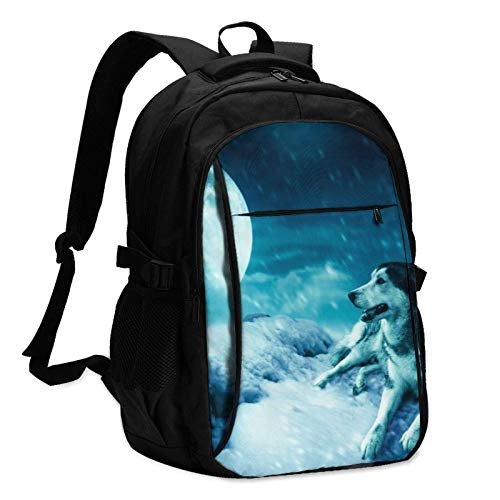 XCNGG Planet Snow Wolf Unisex Travel Laptop Backpack with USB Charging Port School Anti-Theft Bag