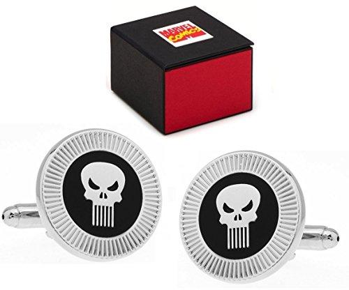 Marvel Comics Punisher Logo Super-héros Argent Tête de Mort Boutons de Manchette – Boutons de Manchette Comprend Comics Boîte Cadeau