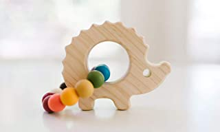 Hedgehog Wooden Grasping Toy Add Teething Beads