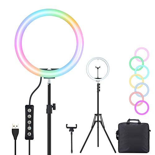 Spardar Ring Light 13 Inch RGB LED Colors Dimmable Circle Makeup Flash Light with Cell Phone Holder Desktop Ring Lights kit for Live Stream/Makeup/Video/Photography