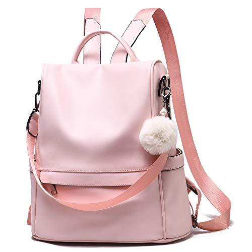 Women Backpack Purse Leather Anti-theft Shoulder Bag Ladies Satchel Bag Fashion Bookbag for Girls,Pink