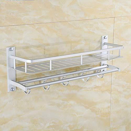 Wtbew-u Toallero para baño, toallero de barra de toalla de baño, estante de toalla de baño, estante de baño montado en la pared, doble toallero con barra de toalla gancho de aluminio