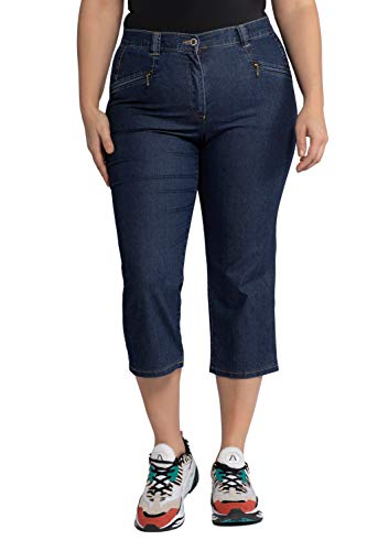 Ulla Popken Große Größen Damen Hose Jeans Mony wadenlang, Blau (Dark Denim 93), 46