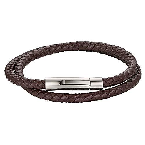 Cupimatch Herren Lederarmband, Leder Kordelkette Geflochten Armband Wickelarmbänder mit Edelstahl Magnetverschluss - zum zweimaligen Umwickeln, Braun