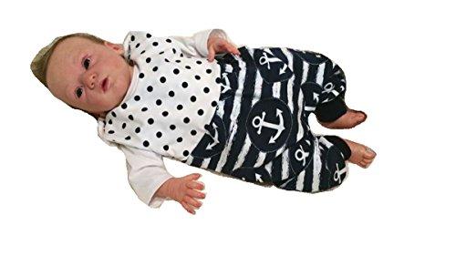 Atelier MiaMia - Mitwachs Strampler Baby Kind von 50, 56, 62, 68, 74, 80, Designer Strampler Limitiert !! große Anker (56)