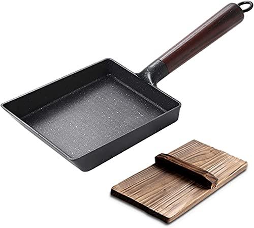 Cakunmik Jadeetrommel fried egg pan mini pan, cast iron, rectangular wooden handle pan in Japanese style