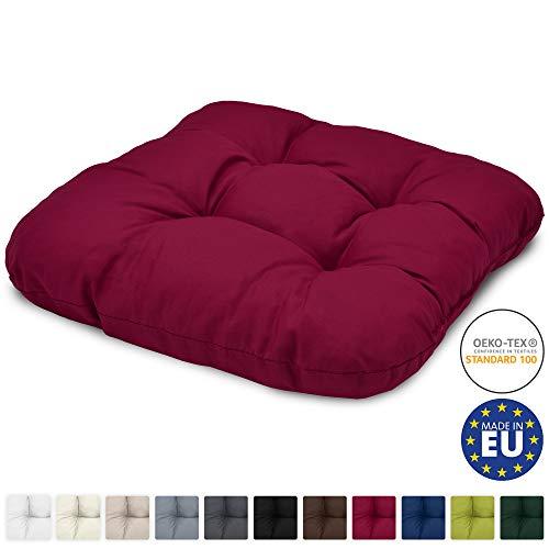 Beautissu Stuhlkissen 40x40 cm Lisa – Bequemes 8cm Kissen für Stuhl & Bank – Gepolstertes Sitzkissen Stuhl für Ihre Esszimmer Stühle und Bänke – Sitzpolster in Rot