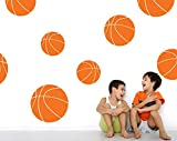 Boys Room Basketball Wall Decals - Room Decor for Kids Removable Sports Stickers [Set of 9] (Persimmon, 30x30 inches)