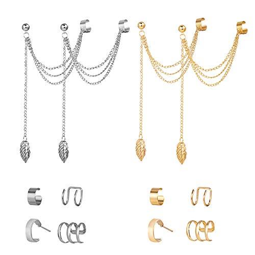 Elegantes pendientes punk para mujer, pendientes de borla de cadena de gota de hoja para niñas y niñas, clips de plata y dorado (2 juegos)