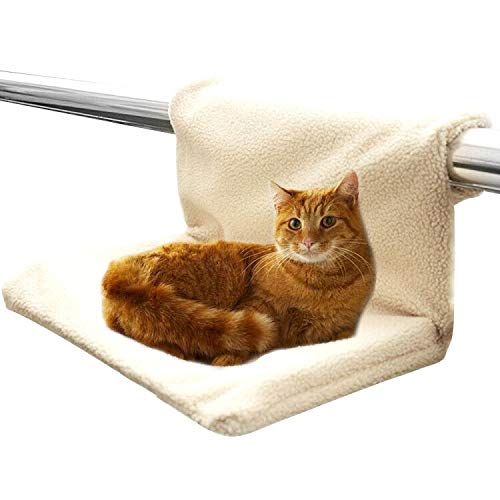 HEARTST 猫用 ハンモック折り畳み式 猫 窓用 ハンモック ペットベッド 日光浴 暖かい 取付簡単 取り外し可能なカバー ウィンドウベッド 窓 水洗い可 (ベージュ)