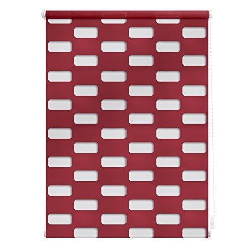 Lichtblick Doppelrollo Arena, 70 x 150 cm in Rot, Duo Rollo für Fenster & Türen, ohne Bohren, Jalousie & moderner Sicht- und Sonnenschutz