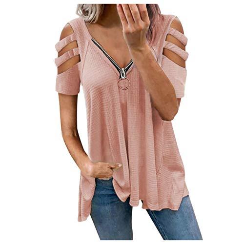 XOXSION Camiseta de verano para mujer, parte superior de manga corta, hombros descubiertos, camiseta informal, cuello en V, cremallera, color arrugado a rosa XXL