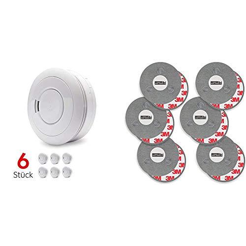 Ei Electronics Ei650 Rauchmelder (mit 10-Jahres-Batterie, Testsieger Stiftung-Warentest, 6er Set) + Magnetbefestigung für Rauchmelder, für Glatte Flächen, Nicht für Rauhfaser oder losen Putz, Ø70mm