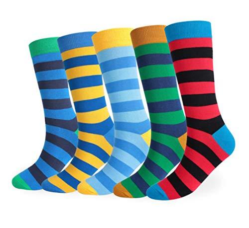 Repuhand 5 Pares Calcetines Estampados para Hombre Casuales Divertidos con Stripe fino de Algodón Peinado de Colores de Moda Cómodo Transpirable (39-47 EU)