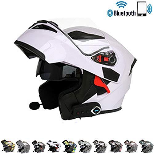 C-TK Bluetooth Integrado Modular Casco de la Motocicleta ECE 22.05 certificación Dot Seguridad estándar-Cara Completa Racing Casco de la Motocicleta General,7,M(57~58) CM