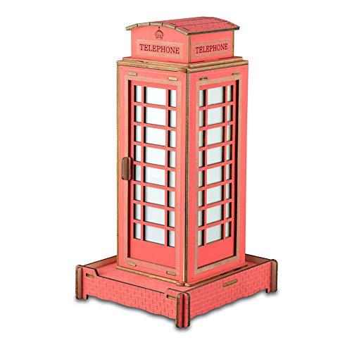 BLKykll 3D Láser De Corte De Madera Puzzle DIY Montado,Cabina Telefónica Inglesa Juego De Rompecabezas De Madera Ensamblaje Niños Juguetes Regalos Adolescentes