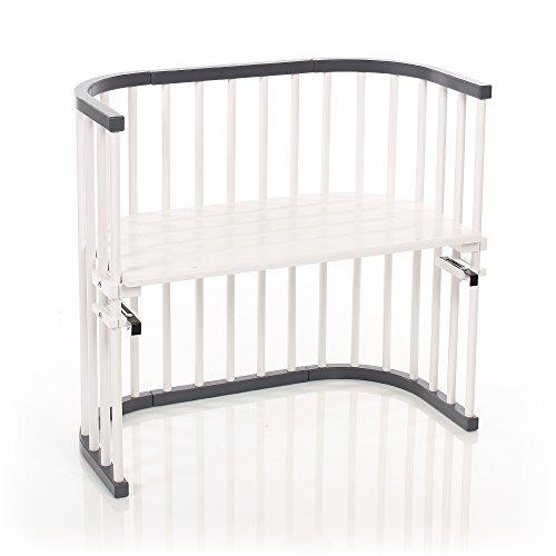 babybay Original Beistellbett aus massivem Buchenholz für Tag und Nacht I Kinderbett Höhe verstellbar & umweltfreundlich I mitwachsendes Babybett (schiefergrau/weiß lackiert)