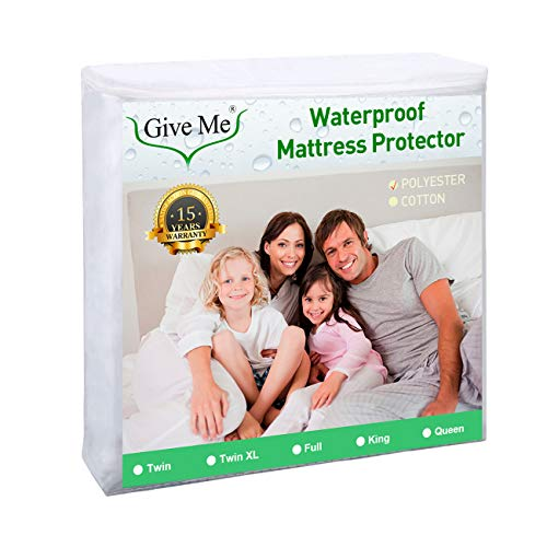 Give Me Twin XL Size Mattress Protector, 100% Waterproof Mattress Pad Cover – Breathable Smooth Soft Premium Suface Matress Protector, Dust Mite Proof & Hypoallergenic – Fits 14″ Deep