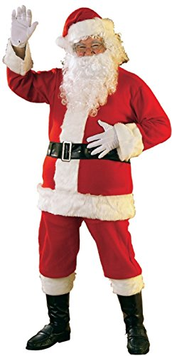 Rubies Men's Bright Flannel Santa Suit with Gloves, Red/White, Standard