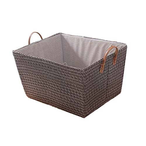 OMVOVSO Cesta de almacenamiento plegable, caja de almacenamiento para nevera, caja de almacenamiento de armario de múltiples capas separada, simple Snack Warrier Mutschväschkorb, marrón