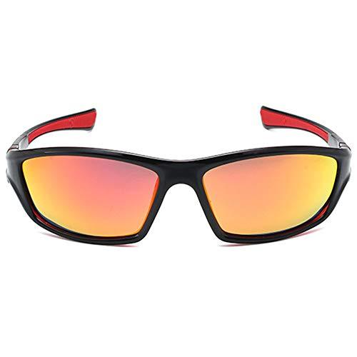 VENSUL Gafas de sol deportivas polarizadas con protección UV400, para pesca, esquí, golf, correr, ciclismo, marco negro y rojo / lente naranja