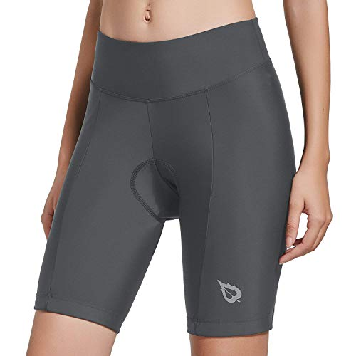 BALEAF Womens Bike Shorts with 3D Gel Padded Wide Waistband UPF 50+ for Cycling Grey Large