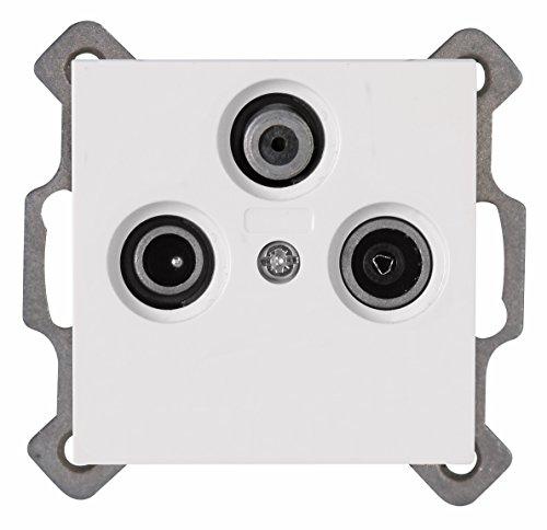 Kopp 941329084 Antennensteckdose 3-fach TV/RF/SAT Athenis rein-weiß, 3 Ausgänge mit Sockel