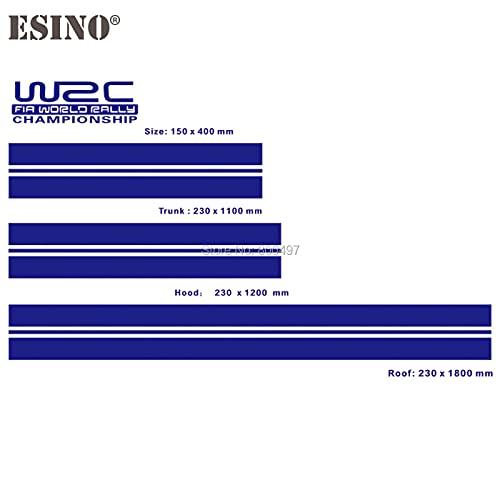 HXKGG Nuevo WRC Fia World Rally Championship Stripe Set Capó del Coche Baúl de Techo Material KK Etiqueta de Vinilo Racing Rally Sports PVC Decal Accesorios para automóvil GlossyBlue