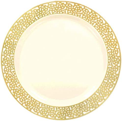 Amscan Premium Plastic Plates Cream with Lace Border Max 50% OFF Gold 10.2 New arrival