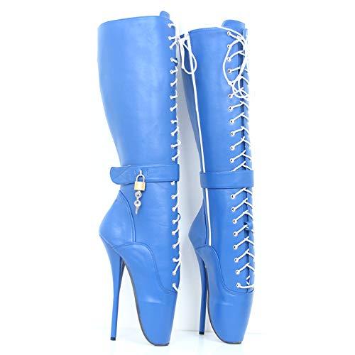 HOMDREAM Ankle Ballet Boots Sexy Knöchel Ballett Stiefel Super High Spike Ferse Ballettstiefel Benutzerdefinierte,Blue-EU-40