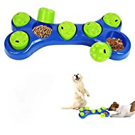 ADEPTNA Dog Pet Feeder Bowl Bone Shape Fun Puzzle Treat Slow Feeding Interactive Fun Game for Your Dog - Play Hide n Seek with Treats