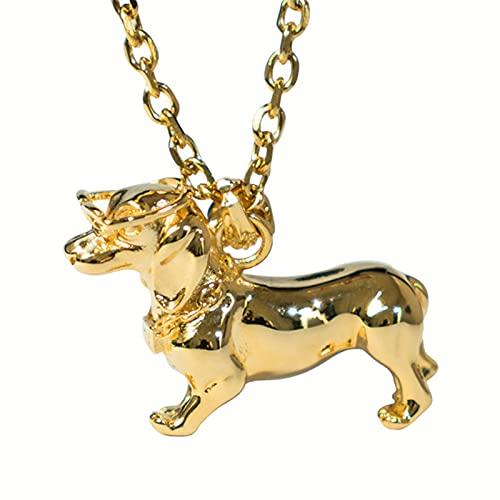 Punk Hip Hop Fashion Street Bulldog Colgante, Collar con Colgante De Mascota De Acero Inoxidable, Simple Más Grande para Hombres Y Mujeres, Accesorios para Collar De Perro Salchicha