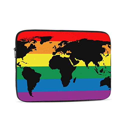 Laptop Case MacBook Pro Black World Map Silhouette On LGBT Laptop Shell Multi-Color & Size Choices 10/12/13/15/17 Inch Computer Tablet Briefcase Carrying Bag