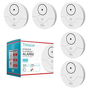 Tritace Window Alarm with Vibration Sensor - Feel Safe at Home.- Keep Burglars & Thief s Away - Detects Breaking of Glass & Opening of The Window with Force -  Set of 5  White