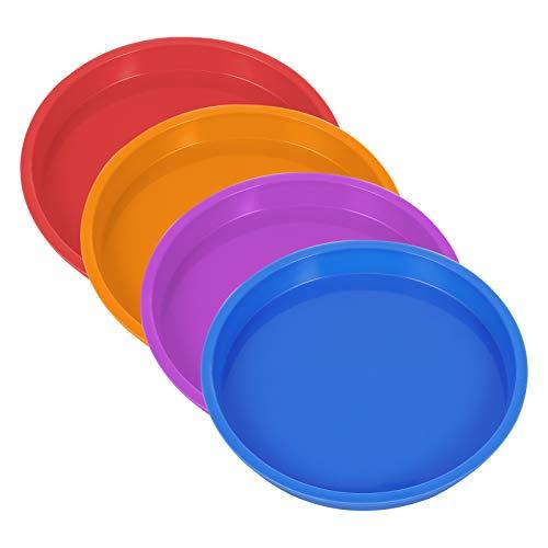 Silikon Kuchenformen Runde Backform, 4 Stück 8 Zoll Regenbogen Kuchenform Geschichtet Antihaft-Pizza Formen Kuchenformen für Geburtstagsfeier Hochzeitstag (Rot, Orange, Blau, Lila)