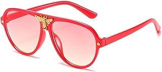 FJCY - Gafas de Sol de Aviador Redondas para niños Moda con Remaches de Abeja Decoración Gradiente Gafas de Sol para niños Niños Niñas Unisex Retro-6-Dj6607-C8